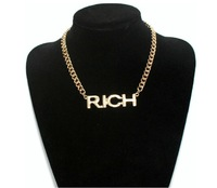 Hot Selling Shine Letter  RICH Charm Necklaces Chunky Dold Chains Necklace Gift for man girl Jewelry Wholesale