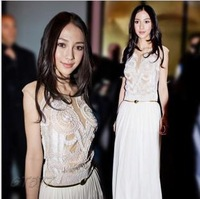 2013 Summer Dress Women Maxi Dress Summer Sleeveless Cute Onesies For Adults Embroider Floor  Free Shipping