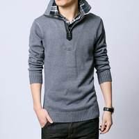 Male thermal thickening zipper shirt collar stand collar sweater male sweater male basic shirt men's clothing