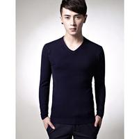 Fashion Men V-neck doesn't sweater basic sweater shirt slim solid color V-neck men's clothing