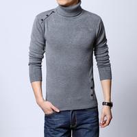 Comfortable soft male slim dark grey turtleneck sweater male sweater male basic men's clothing turtleneck shirt