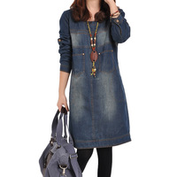 dresses direct selling full  uotime 2014 autumn new arrival plus size clothing long-sleeve wearing denim one-piece dress