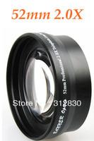 Free shipping HK 52mm 2.0X TELE Telephoto LENS Black for LX3 LX5 D-LUX4