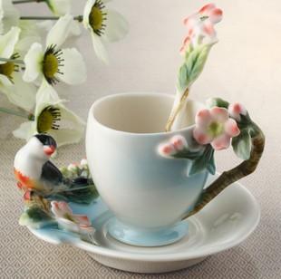 Osso Caneca do pássaro china moda cerâmica breve café casa de vidro favor e presentes de casamento de Natal(China (Mainland))