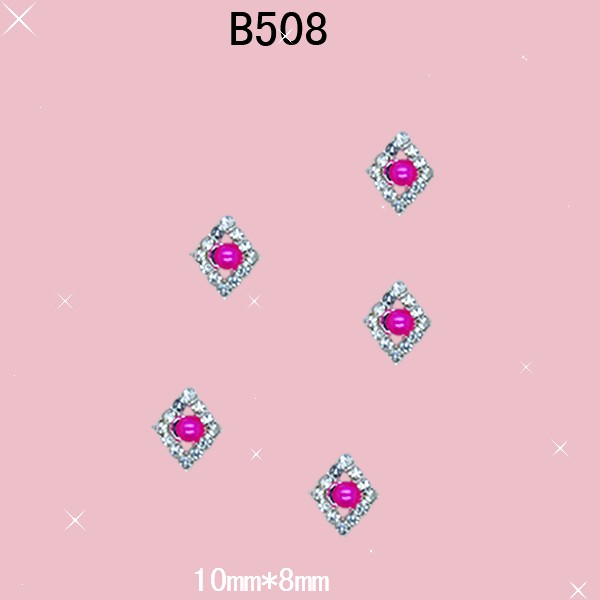 free ship 10 pieces/pack 3D Crystal Alloy Rhinestone Rose Red Pearl Nail Art iphone Mobile Glitter Decoration DIY JB508(China (Mainland))