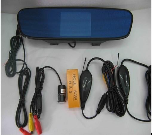 car camera 4.3 inch rear view monitor video data and radar data integrated voice alert wireless car park sensor(China (Mainland))