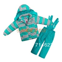 Free shipping Child male female child thickening thermal fleece lining ski suit set cotton-padded jacket suspenders trousers