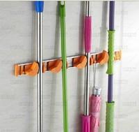 Free Shipping Aluminum Wall Mounted 4 Position Bathroom Mop Broom Holder 3 Hooks