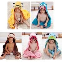 one pcs Children's Cartoon Baby Hooded Bath Towel Bathrobe Cotton Terry Infant Kids Bathing Wrap Robe Toddler-sized