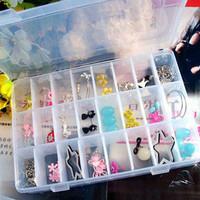 free shipping Multifunctional small storage box transparent plastic storage box jewelry box kit component box
