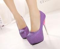 2014 new 14cm heels beautiful shoes women high heels night club high heel shoes woman platforms purple platform pumps size35-40