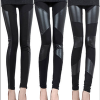 Freeshipping Faux leather patchwork legging trousers women leggings leather pants hot-selling 2013
