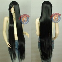 "150cm 60"" Beautiful women's long black Cosplay hair wig wigs"