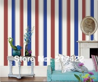 Modern brief american style non-woven wallpaper vertical stripe room wallpaper