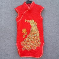 2013 single vintage chinese style female child cheongsam female child one-piece dress red