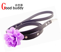 Hot selling fashon flower crystal dog leash,newest rhinestone pet lead,good pu dog collar and leash