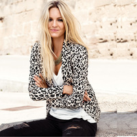 Haoduoyi soft slim leopard print blazer casual female clothes jacket double clamshell bags vent