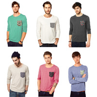 New Arrival 2013 Autumn Fashion Pocket Men's T-shirt Long Sleeve Tee Shirts 6 Colors Free Shipping