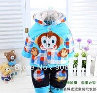 Free shipping Kids Hot explosion models cartoon monkey hooded winter warmth Tong Ye Tong Tong cotton suit