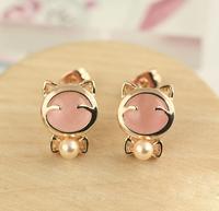 Hearts . accessories elegant sweet all-match - eye earrings bow pearl stud earring