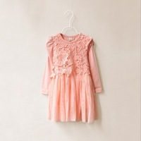 Wholesale--6pcs/lot  Korean  Boutique high quality  girls temperament lace long-sleeved dress free shipping