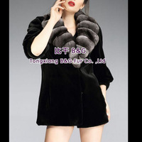 BG29207    Genuine Luxurious   Sheared Mink Fur Woman Clothing  with Chinchilla fur collar  2013 Fashion  Mink fur clothing