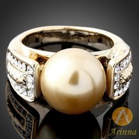 Arinna Free shipping Fashion jewelry Crystal Rings Gold GP big pearls Rings for women Christmas gift for lover J0234