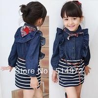Best selling!Girls fashion denim stripe patchwork long sleeve one-piece dress free shipping
