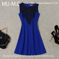 2013 Autumn The New High-End European Fashion Wholesale Women's Water Soluble Lace Embroidered Sleeveless Dress