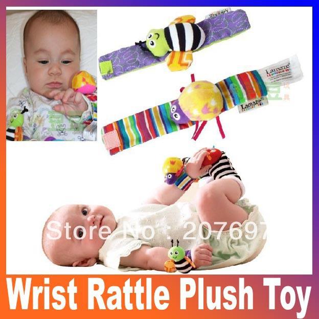 Brinquedos infantis bebê 4pcs/lot 0-12 meses de pelúcia chocalho pulso brinquedo Baby chocalhos e Mobiles Frete Grátis(China (Mainland))