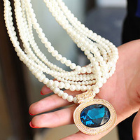 Wholesale High Quality Jewelery Europe Retro Personality Pearl Blue Crystal Necklace Simple Fashion Women Gift Charm