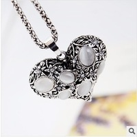 Free Shipping New Arrived vintage Silver Opal Love Pendant Necklace Sweater Chain  Fashion Wild Korean Jewelry Gift  For Women
