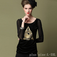 Plus size L-5XL,New Fashion High-quality Women's Long sleeve Bottoming shirt Hot stamping Gauze sleeve Tops Black