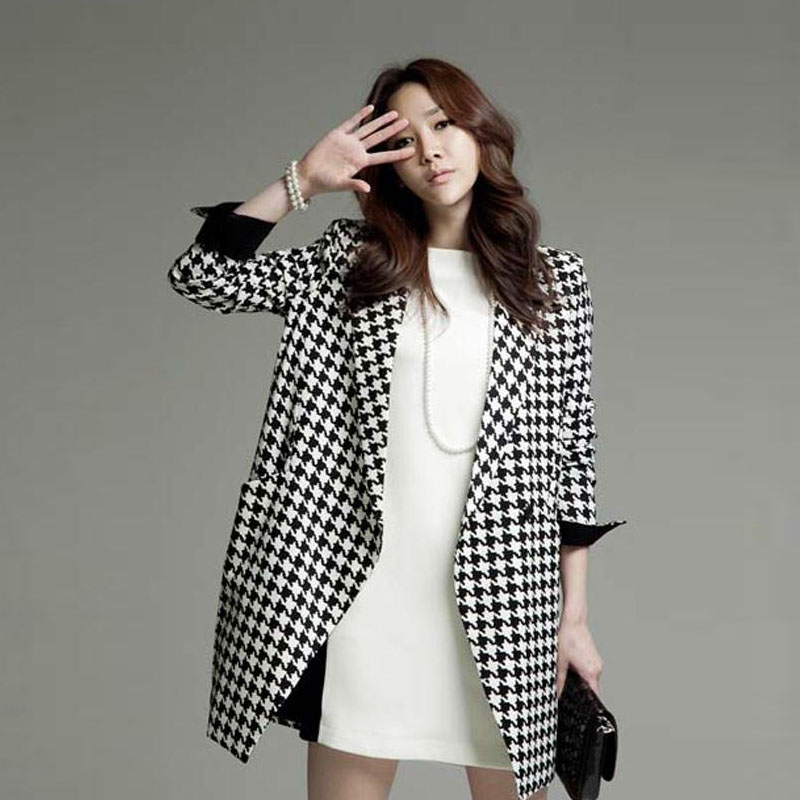 Женская одежда из шерсти 2013 female woolen overcoat suit houndstooth medium-long outerwear trench plus size