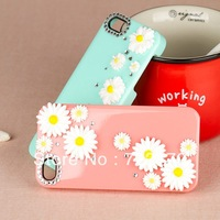 High quality 5pcs Luxury With flower diamond pc Flower Case for ipone5/5s/ipone4/4s diamond hard case GZP-C01