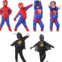 Christmas child clothes costume girls set Hallowmas suits Spider-Man kids baby boy's clothes straitest Superman Spiderman Batman