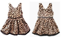 Baby Girls Leopard Cotton Dress Patchwork Belt Princess Dresses girls leopard dress