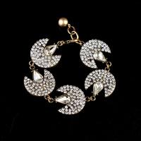 Fashion personality pave crystal moon bracelet chain link bracelet