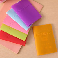 10pcs/lots  I09-3-14-1  Candy color waterproof silica gel passport cover or holder /multifunctional travel protective case