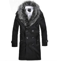 New Fashion  men's  Korean style long wool warm winter coat  Size M/L/XL/XXL