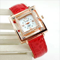 Free Shipping 2014 new fashion women's leather strap square analog casual watch wristwatches