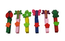 "Wholesale Freeshipping Wood Craft Clothespins Spring 2.9"" Mix Color with Various Design Pack of 36(China (Mainland))"
