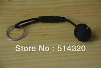 B039 Black Monkey Fist Steel Ball Bearing Self Defense Lanyard Survival Key Chain