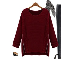 Autumn and winter fashion irregular loose pullover wool sweater batwing sleeve zipper twist sweater thickening