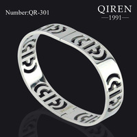 Unique Stainless Steel Hollow Pattern Bangle BVL Silver Spring QR-301 , High Quality  , 1 pc Accepted