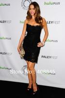 2013 Euro Type free Fast Shipping sheath Strapless black Sofia Vergara celebrity dresses short with lace
