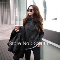 Free shipping 2013 new autumn and winter cotton mixed textile velvet women's hooded sweater blends gray with black pullovers 185