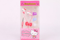 2013 Cute Cartoon In-ear Pink Hello Kitty Earphone Earbud Stereo Headphones 3.5mm with Retail Box Case for Mp3 Free Shipping