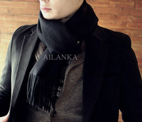 Guaranteed 100%[Wholesale&Retail]2013 Autumn Winter Fashion Men's Cashmere Solid Color Thick wool Scarfs