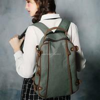 BAZ30 Vintage Washed Canvas Shoulders traval backpack rucksack satchel school work book laptop notebook bag women girl boy men